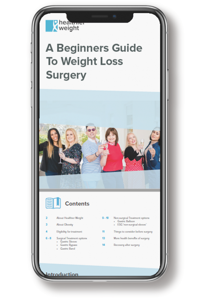 This is an image of the weight loss success story e-book mocked up onto an Iphone x
