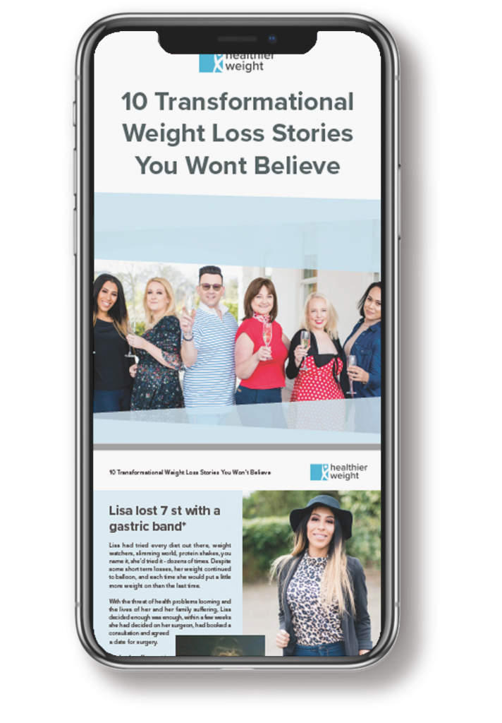 This is an image of the weight loss story guide e-book mocked up onto an Iphone X