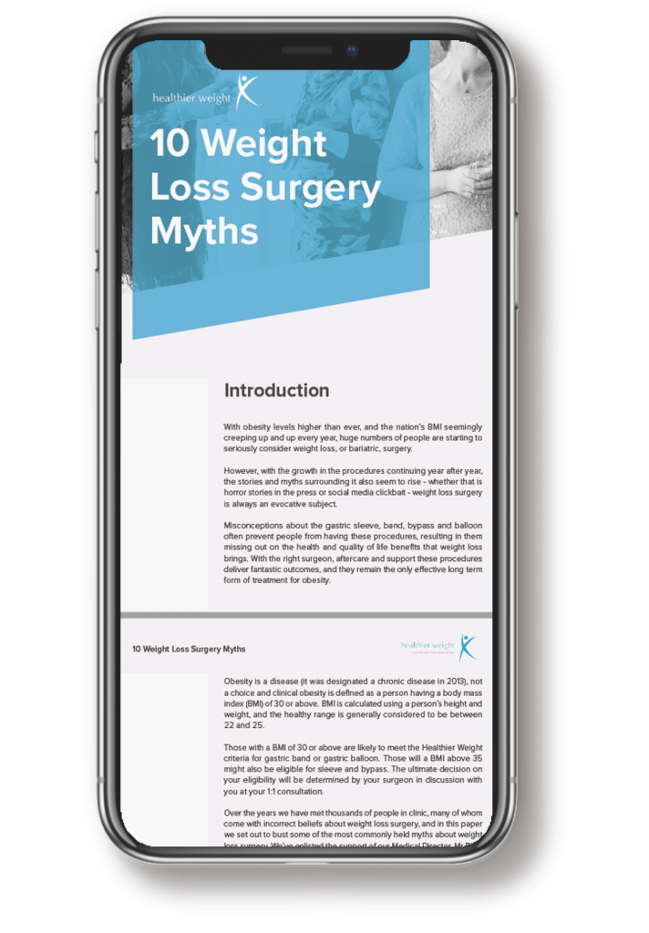 This is an image of the weight loss myths e-book, mocked up onto an Iphone X