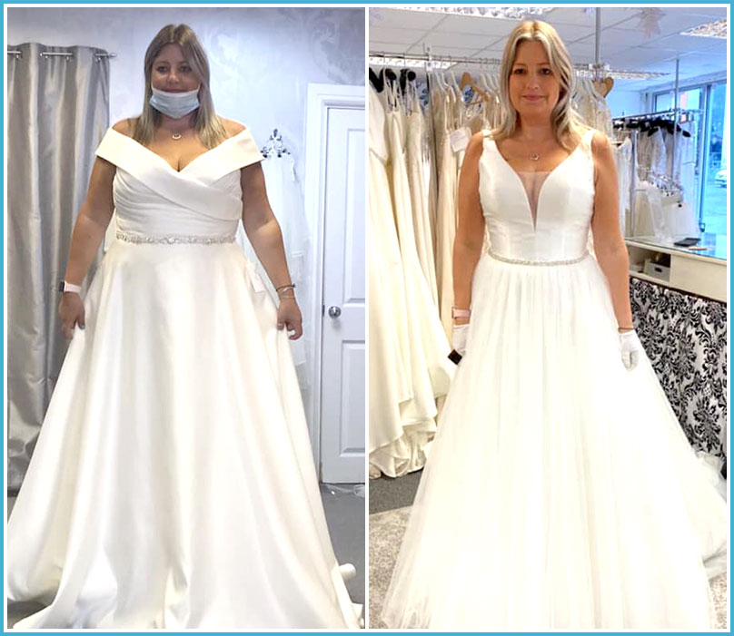 Healthier Weight patient Kristen tries on a wedding dress before and after gastric sleeve surgery in 2020
