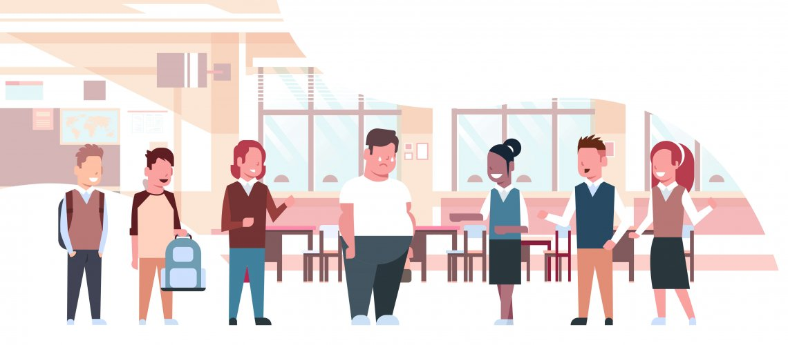 mix race pupils mocking for fat obese school boy obesity concept friends bullying sad overweight guy in classroom horizontal full length flat vector illustration